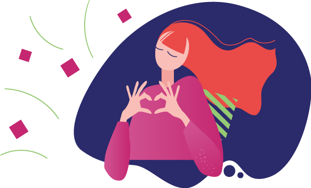 female holding up heart hands to show love for the crowdfunding campaigns
